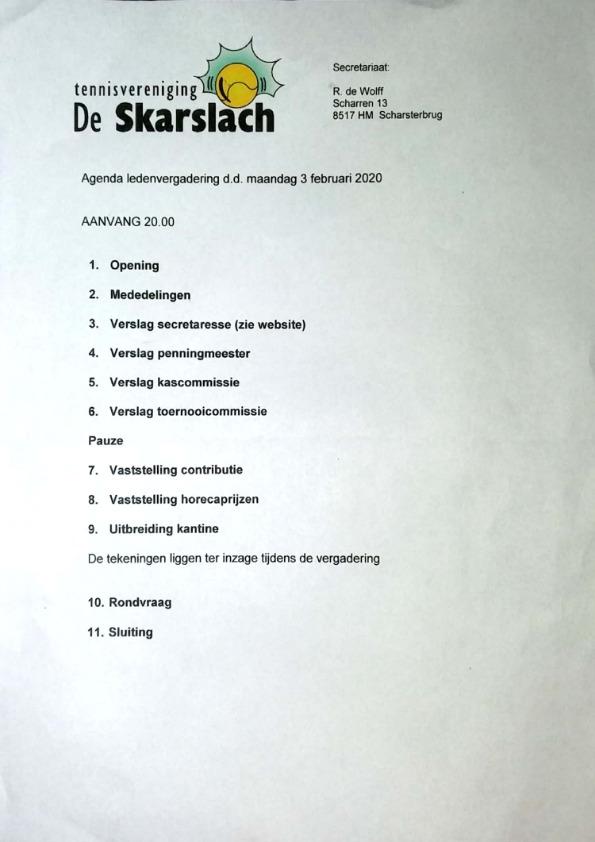 Agenda Ledenvergadering TV de Skarslach 2020